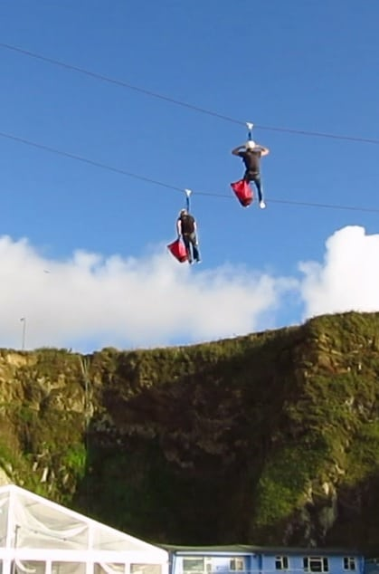 Ziplining at Lusty Glaze, Newquay