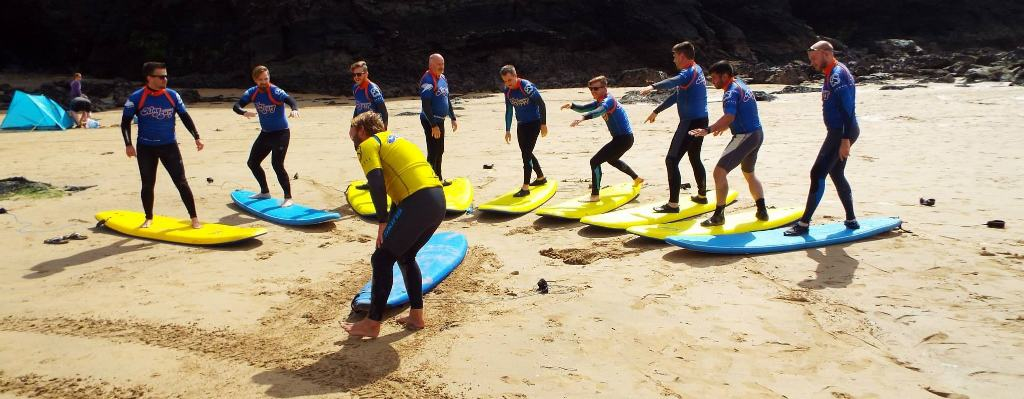 Surfing at Mawgan Porth, Newquay